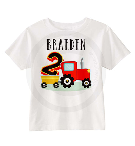 Red Tractor Birthday Shirt for Boys