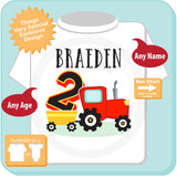 Second Birthday Personalized Red Farm Tractor Shirt 08312015a