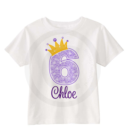 Girl's Purple Princess Birthday Shirt