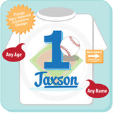 Baseball First Birthday tee shirt with Child's name and age 09022015i