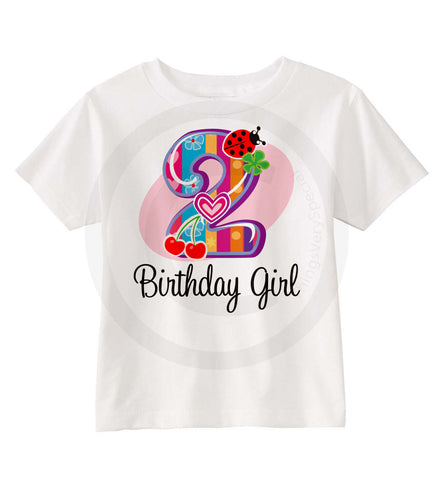 Birthday Girl Shirt With Fancy Number 2 And Ladybug