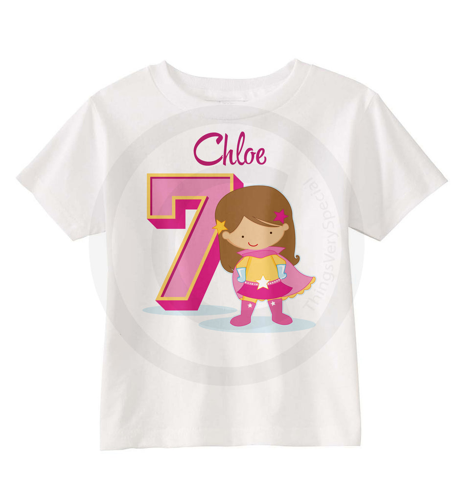 Superhero 7th Birthday Shirt For 7 Year Old Girl Personalized Seventh 09072016c