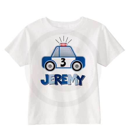 Boy's Police Car theme Shirt personalized with name and age 09082014a