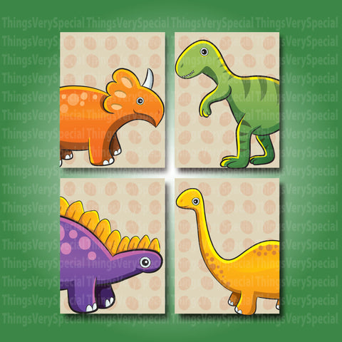 Dinosaur Children's Wall Art Prints, Printed Room Art for kids. Dinosaur gift