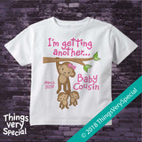 I'm Getting another Baby Cousin Tee shirt with monkeys and the due date 09122018b