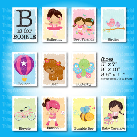 Girl's Name that starts with B Room Wall Art Prints, Alphabet Learning Art Prints