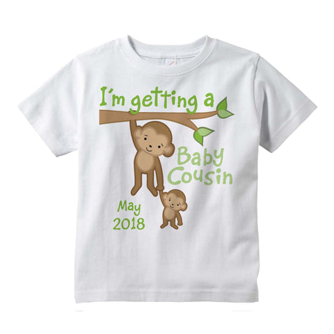 I'm Getting a Baby Cousin Tee shirt with monkeys and the due date 09182012a
