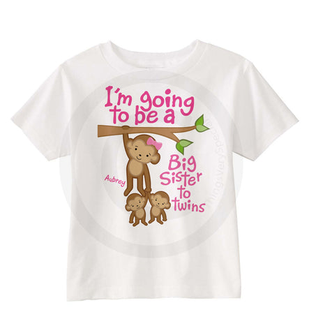 I'm Going to be a big sister to twins Shirt with Monkeys