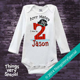 Pirate 2nd Birthday Onesie Bodysuit for boys - 100% cotton short or long sleeve 09192014d
