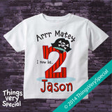 Two Year Old's Pirate Birthday Shirt, Personalized short or long sleeve 100% cotton t-shirt 09192014d