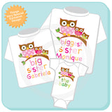 Set of three Matching Sibling Outfits - Biggest Sister - Big Sister - The Baby - Owl Matching Siblings 09212012a