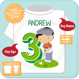3rd Birthday Golf Theme Shirt Personalized Third Birthday Boy Golfer Tee Shirt 09252015d