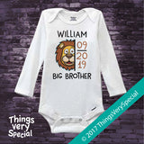 Lion Big Brother Onesie Bodysuit Personalized with name and due date