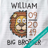 Lion Big Brother shirt Personalized with name and due date