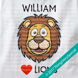I Love Lions Personalized short or long sleeve tee shirt