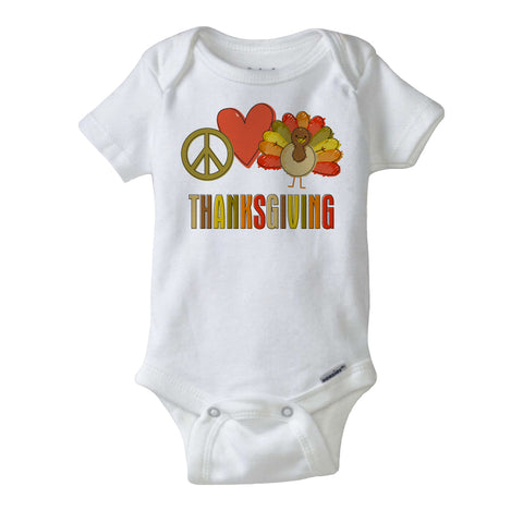 Peace Love Thanksgiving Onesie Bodysuit, short or long sleeve 09262011c