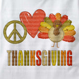 Peace Love Thanksgiving Shirt, Thanksgiving Turkey Tee Shirt, Short or long sleeve 09262011c