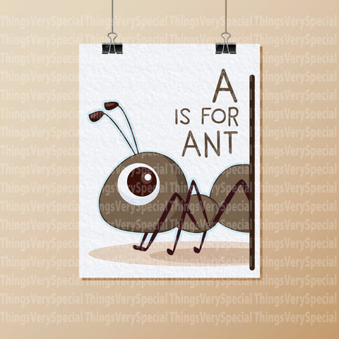 Alphabet Art Print, A is for Ant, Children's room decor