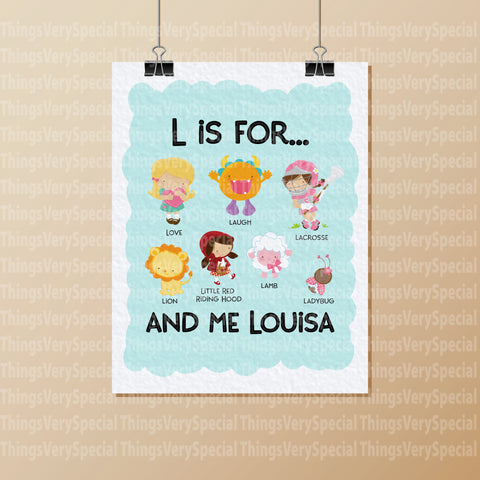 "Alphabet Wall Art for Child's Room, Gift for Child, Name Starts with L for girls 8.5"" x 11"""