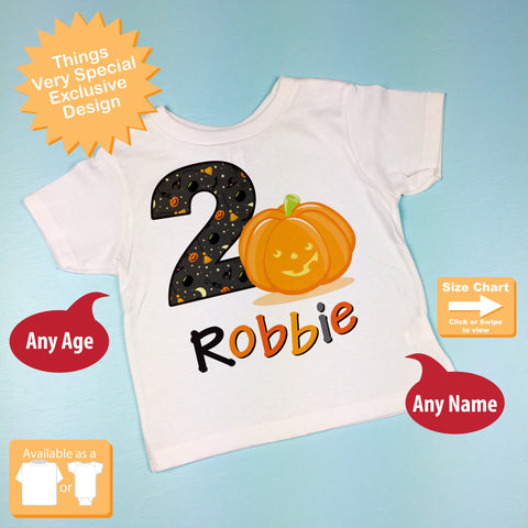 Halloween Birthday Shirt 10022012a ThingsVerySpecial Fall Pumpkin Theme Tee For Two Year Old Boy