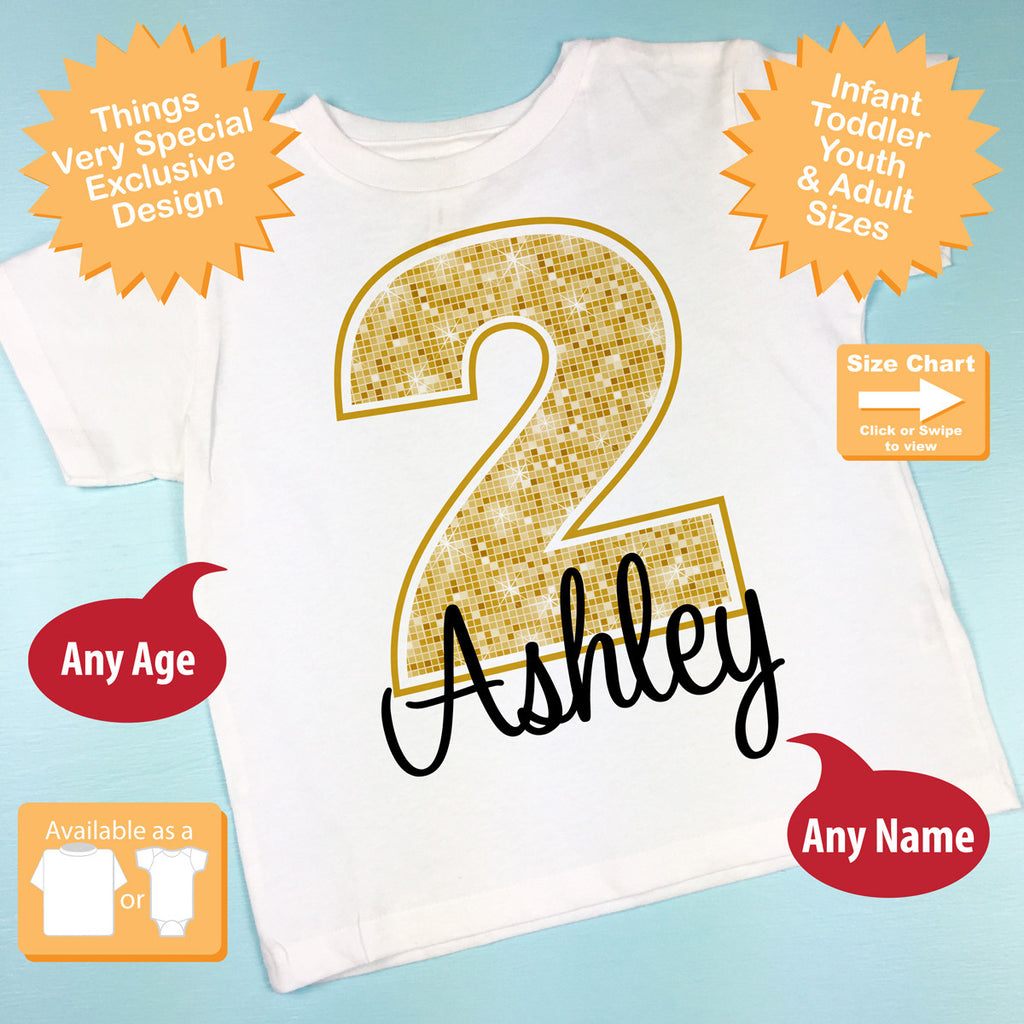 Second Birthday Shirt Golden 2 Personalized Girls Bir Things Very Special