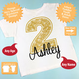 Second Birthday Shirt, Golden 2 Birthday Shirt, Personalized Girls Birthday Gold Color Age and Name Tee 10022013a