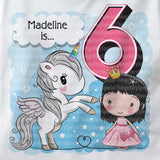 Unicorn birthday shirt for 6 year old with black hair