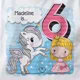 Unicorn birthday shirt for 6 year old with blonde hair