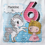 Unicorn birthday shirt for 6 year old with dark blonde hair