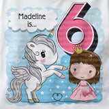 Unicorn birthday shirt for 6 year old with dark brown hair