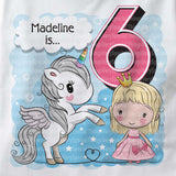 Unicorn birthday shirt for 6 year old with light blonde hair