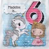 Unicorn birthday shirt for 6 year old with light brown hair