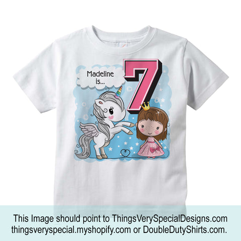 Unicorn 7th Birthday Shirt Gift For 7 Year Old Girl Seventh 10022018d7