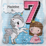 Unicorn 7th Birthday Shirt, Gift for 7 year old girl, Seventh Birthday shirt 10022018d7