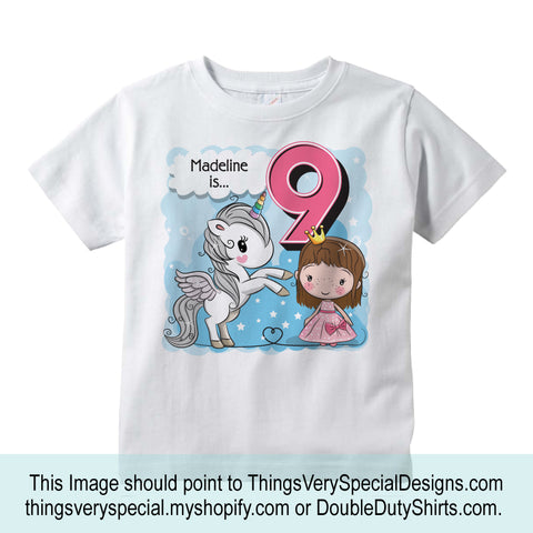 Cute 9 year old girl with unicorn, personalized shirt.
