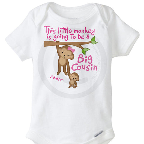 This little Monkey is going to be a big cousin Onesie Bodysuit 10032013a
