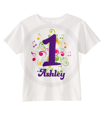 Music Theme First Birthday Shirt for Girls