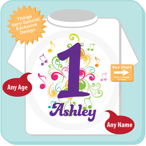 Music Themed First Birthday Shirt Number 1 Personalized Girls One Year Old