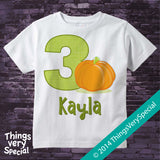 Three Year Old Pumpkin Birthday Shirt short or long sleeve