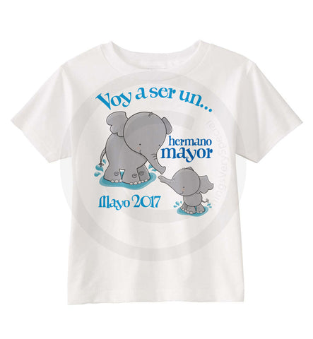 Spanish Hermano Mayor Shirt | Big Brother Shirt with Elephants