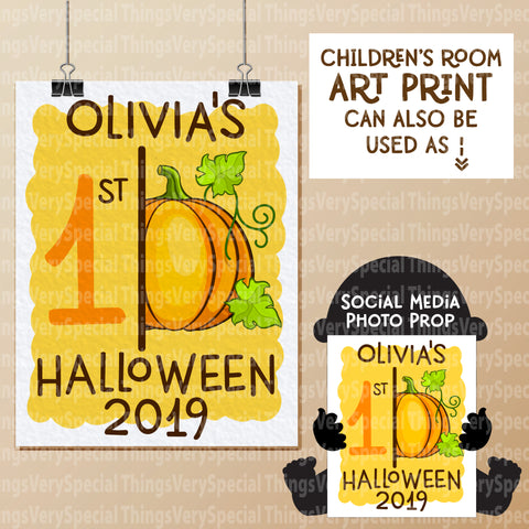 "Baby's First Halloween Photo Prop and Wall Art 8.5"" x 11"""