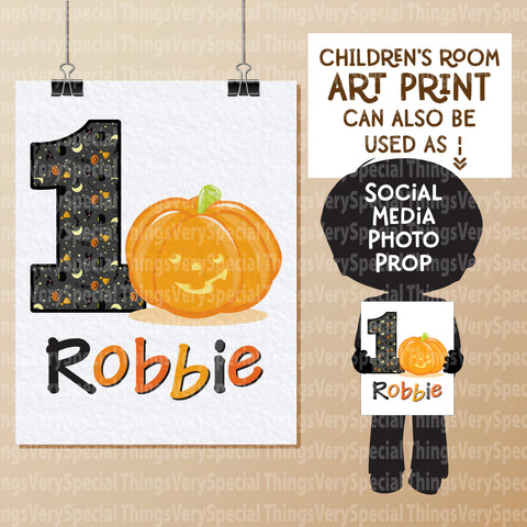 "Halloween Birthday Wall art or Photo prop age 1 - 8.5"" x 11"""