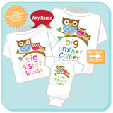 Set of Three, Big Brother Owl Shirt, Big Sister Owl Shirt, and I am the New baby Onesie Set 10122014a