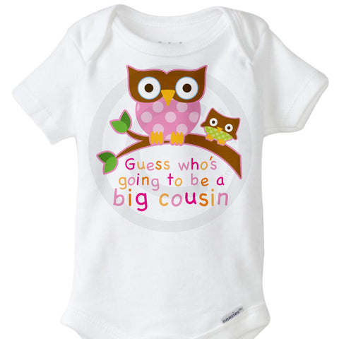 Guess Who's Going to be a Big Cousin Onesie Bodysuit for girls