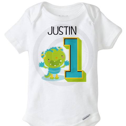Monster First Birthday Onesie Bodysuit for infant boys
