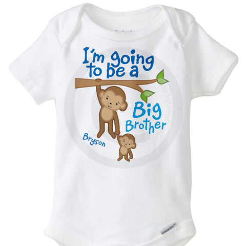 I'm going to be a Big Brother Onesie Bodysuit with cute Monkeys