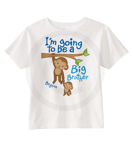 I'm going to be a big brother shirt with monkeys
