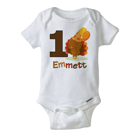 Turkey 1st Birthday Onesie Bodysuit for boys personalized with name 10292018a