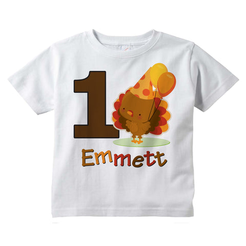 Turkey First Birthday shirt for boys personalized with name 10292018a