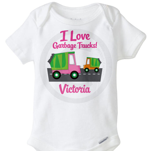 I love Garbage Trucks Onesie Bodysuit for girls 10302012a